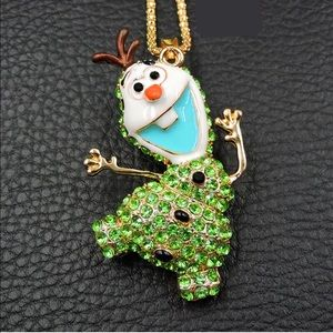 Jewelry - Crystal Green Frozen Jumping Olaf Snowman Necklace